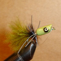 Bluegill Popper Green/Olive Rubber Leg